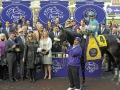 Caption:  Zenyatta with Mike Smith wins the Breeders' Cup Classic, owners Ann and Jerry Moss, trainer John Shirreffs and wife Dottie Ingordo-Shirreffs. Breeders' Cup Saturda at Oak Tree/Santa Anita on Nov. 7, 2009, in Pasadena, California. Origs1  image669 PHoto by Anne M. Eberhardt